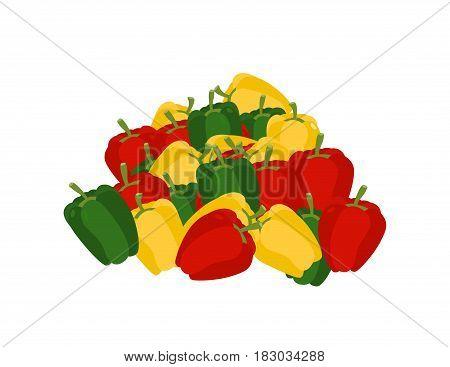 Bunch Of Pepper. Lot Of Vegetables. Big Crop Bulgarian Pepper On Farm