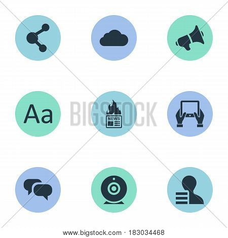 Vector Illustration Set Of Simple User Icons. Elements Notepad, Gazette, Share And Other Synonyms Tablet, Relation And Share.