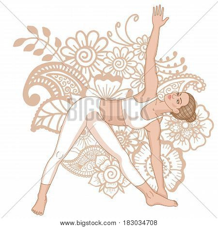 Women silhouette. Extended Triangle Yoga Pose. Utthita trikonasana Vector illustration
