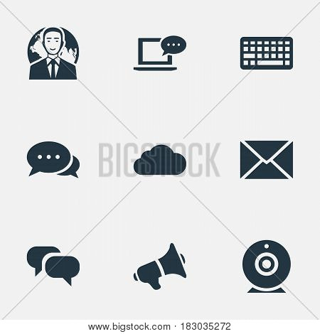 Vector Illustration Set Of Simple Newspaper Icons. Elements Laptop, Post, Keypad And Other Synonyms Negotiation, Camera And Conversation.