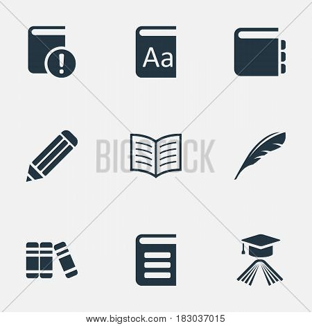 Vector Illustration Set Of Simple Books Icons. Elements Journal, Graduation Hat, Encyclopedia And Other Synonyms Notepad, Encyclopedia And Hat.