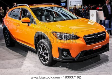 NEW YORK- APRIL 12: Subaru Crosstrek 2018 shown at the New York International Auto Show 2017, at the Jacob Javits Center. This was Press Preview Day One of NYIAS, on April 12, 2017 in New York City