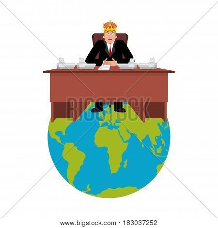 President of world in crown . Modern King is a businessman. Big Boss Planet Earth. Director in office. Chief Worker