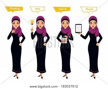 Arab business woman character poses. Woman thinks. Woman has idea, searches something on tablet and shows result on tablet. Illustration shows search process