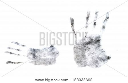 Sample prints of fingers and palms isolated on white background. Example