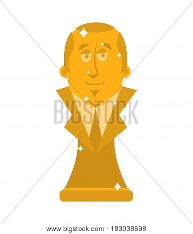 President Of Golden Bust. Statuette Is A Big Boss. Modern Treasure