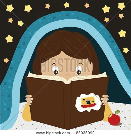Child Reading Book. Kid reading at night under the blunket. Cartoon character boy or girl. Bookworming concept
