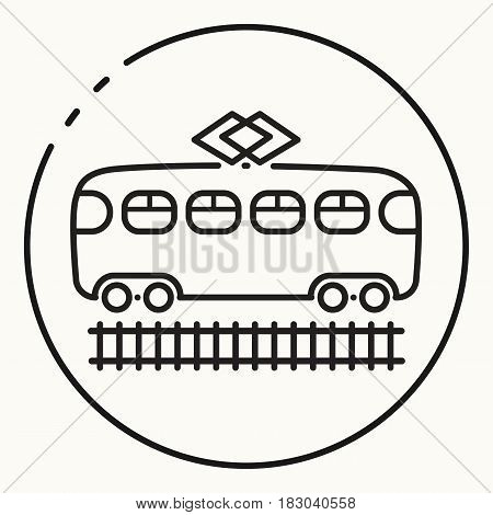 Minimal black outline tram icon, vector tramway sign