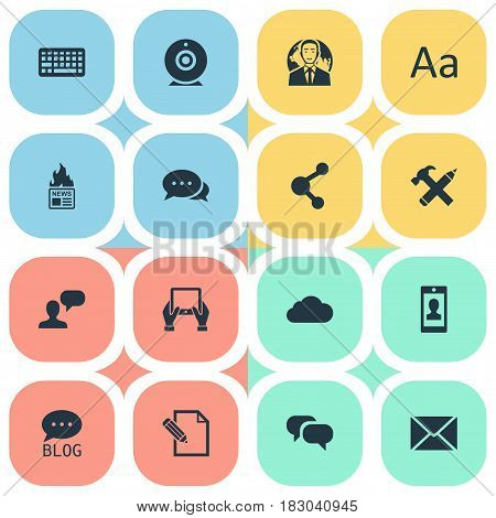 Vector Illustration Set Of Simple Newspaper Icons. Elements Broadcast, Argument, Overcast And Other Synonyms Keyboard, International And Conversation.
