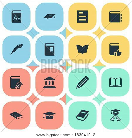 Vector Illustration Set Of Simple Books Icons. Elements Library, Academic Cap, Alphabet And Other Synonyms Textbook, Writing And Academy.