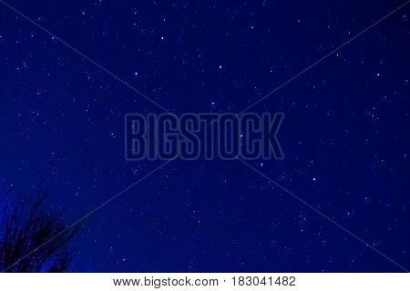 The Big Dipper an asterism consisting of the seven brightest stars of the constellation Ursa Major in a spring night sky