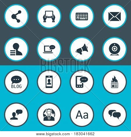 Vector Illustration Set Of Simple Blogging Icons. Elements Profile, Broadcast, Gazette And Other Synonyms International, Tablet And Share.