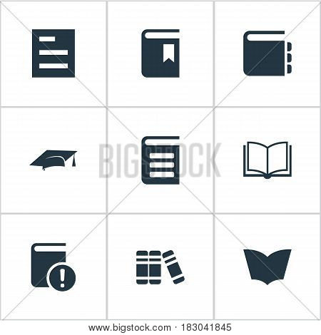 Vector Illustration Set Of Simple Knowledge Icons. Elements Encyclopedia, Academic Cap, Reading And Other Synonyms Reading, Dictionary And Hat.