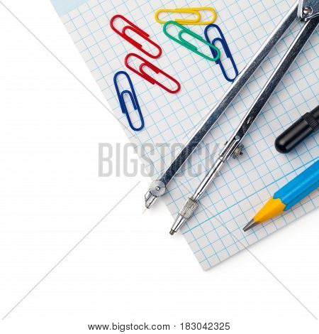Back to school supplies isolated with on white background. Top view