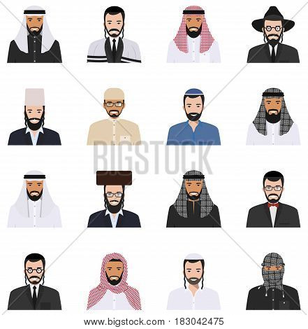 Detailed illustration of different arab and jewish people avatars icons set in the traditional national muslim arabic and israel clothing isolated on white background in flat style.