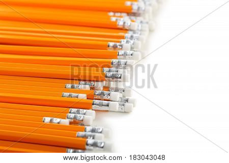Yellow Pencils On A White Background