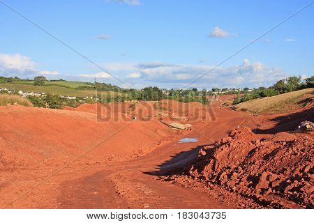 Earth foundations of a road construction site