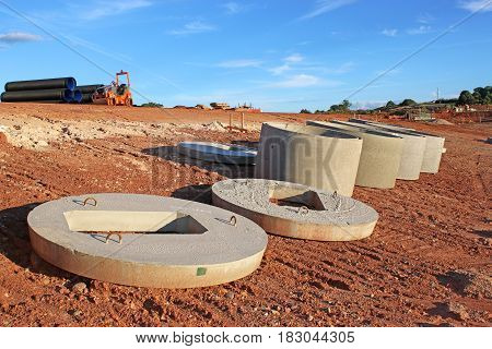 Drainage pipes on a road construction site