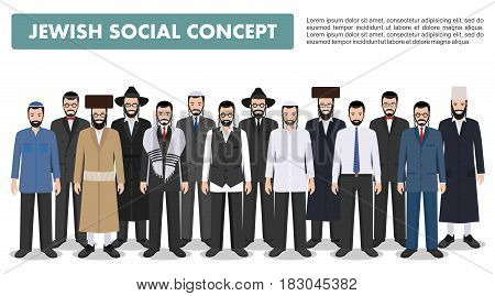 Jewish men standing together in different traditional clothes on white background in flat style. Group adults israel people. Different dress styles. Flat design people characters. Social concept. Family concept.
