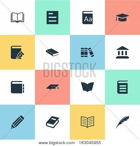 Vector Illustration Set Of Simple Education Icons. Elements Library, Plume, Journal And Other Synonyms Page, Writing And Literature.