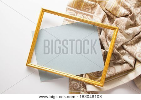 elegant background with frame and beige ornamented drapery