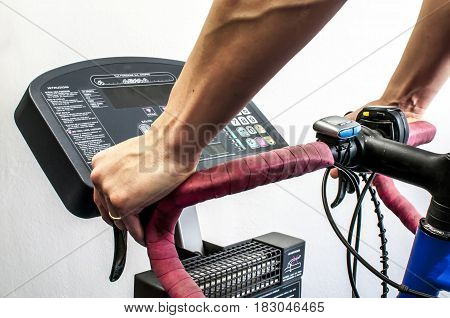 bike exercising with a cyclette for rehabilitation and muscles training
