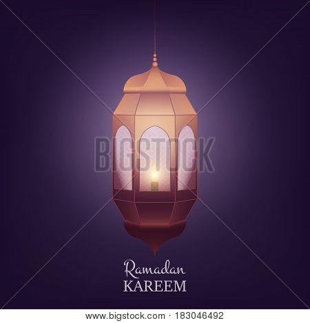 Ramadan Kareem design layout. Arabian background with lantern and shiny light.