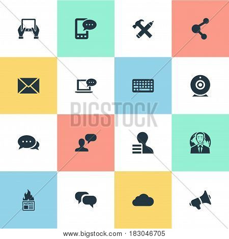 Vector Illustration Set Of Simple User Icons. Elements Share, Man Considering, Gazette And Other Synonyms News, Hand And Keypad.