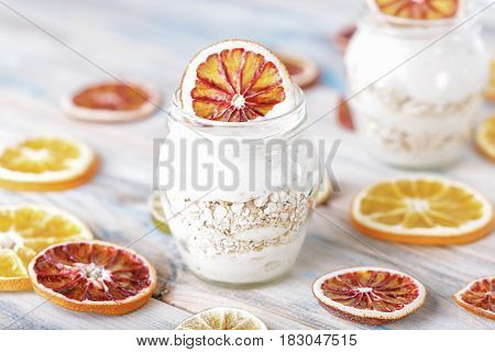 Healthy breakfast from yoghurt with muesli. dessert,