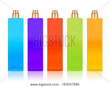 Perfume samples with different flavors isolated on white background