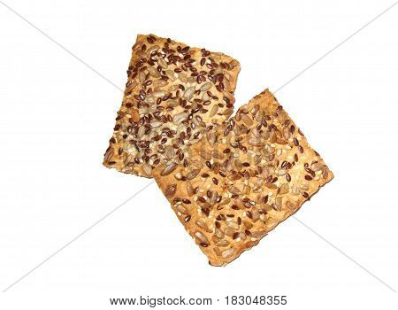 Cooking with seeds of sunflower flax and sesame seeds. Isolated over white background