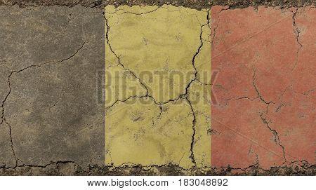 Old Grunge Vintage Faded Flag Of Belgium