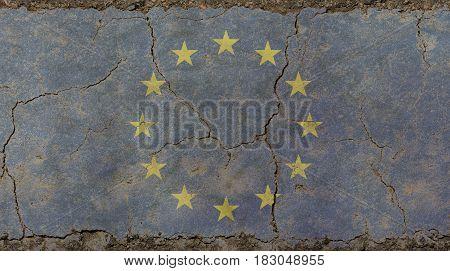Old Grunge Vintage Faded European Union Eu Flag