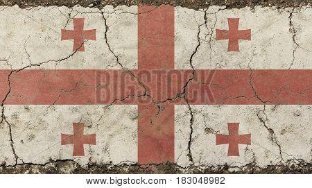 Old Grunge Vintage Faded Georgia Republic Flag