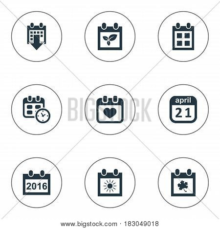 Vector Illustration Set Of Simple Date Icons. Elements Reminder, Leaf, Remembrance And Other Synonyms Sun, Day And Almanac.
