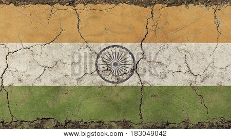 Old Grunge Vintage Faded Republic Of India Flag