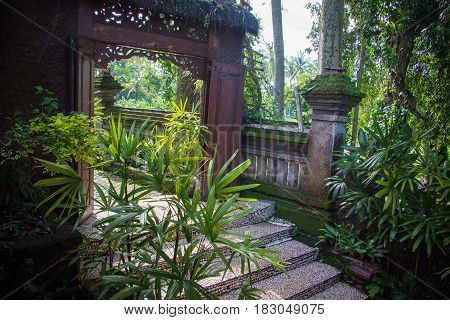 Green jungle and hindu artefacts in Bali; Indonesia
