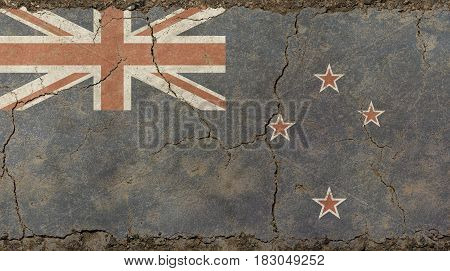 Old Grunge Vintage Faded Flag Of New Zealand