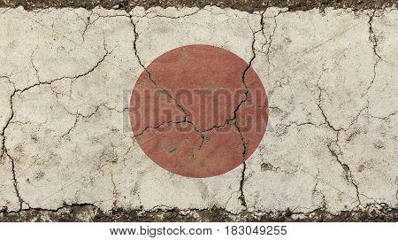 Old Grunge Vintage Faded Japan Nippon Flag