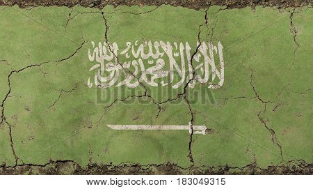 Old Grunge Vintage Faded Saudi Arabia Ksa Flag