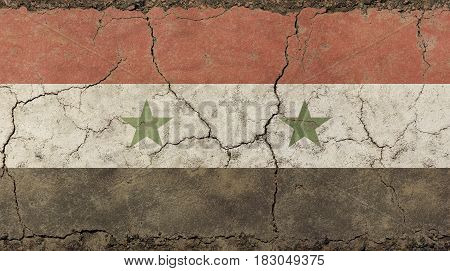 Old Grunge Vintage Faded Syrian Arab Republic Flag