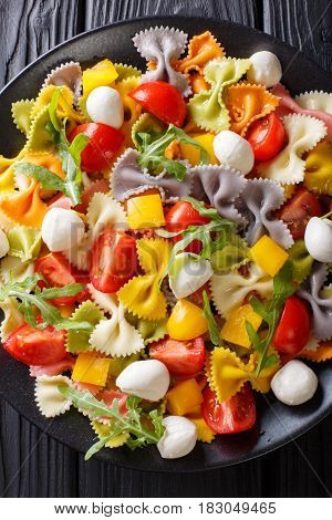 Multicolored Farfalle Pasta With Tomatoes And Mozzarella Close-up. Vertical Top View