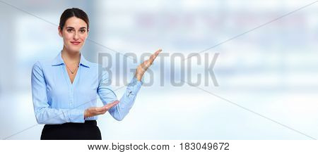 Young businesswoman presenting company