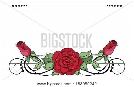 coloring rose red and pink flower card