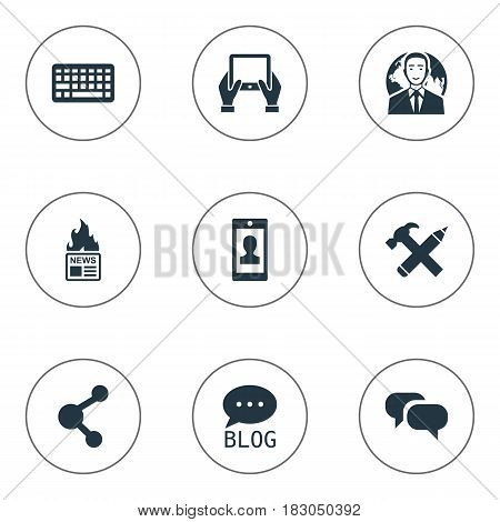Vector Illustration Set Of Simple User Icons. Elements Repair, Profile, Site And Other Synonyms Laptop, Hot And Keyboard.