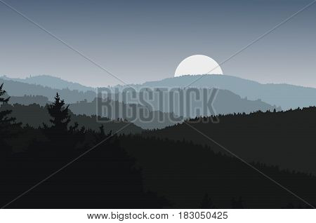 Panoramic view of landscape with dark silhouettes of hills and mountains behind forest under dramatic clean night sky with rising sun or moon - vector illustration