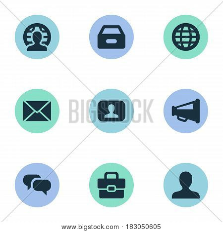 Vector Illustration Set Of Simple Business Icons. Elements World, Human, Inbox And Other Synonyms User, Box And Dossier.