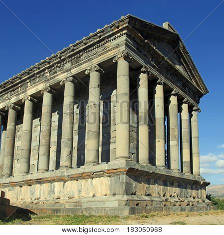 Ancient Garni Pagan Temple the hellenistic temple in Republic of Armenia. The Garni Temple is the fine example of the ancient Greek and Roman architecture. Square toned image poster