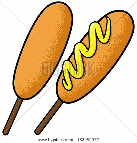 A vector illustration of a Corn dog with Mustard.
