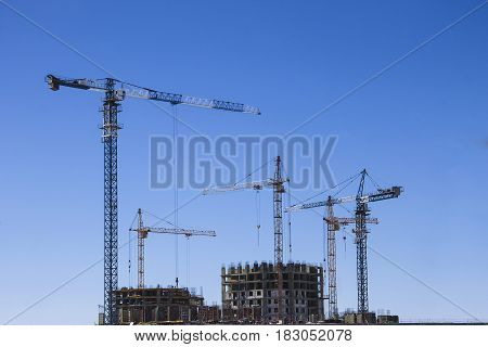 Tower Crane And Reinforced Building